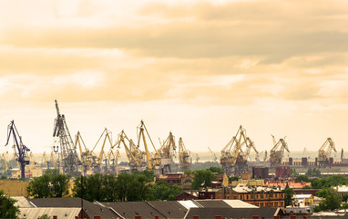 View of the sea port of St. Petersburg