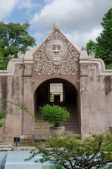 a gate at taman sari water castle