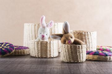 Conejos en canastas