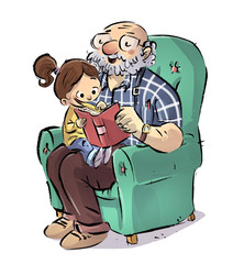 niña leyendo con su abuelo
