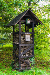 insect hotel.  Wooden insect house