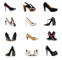 female footwear. female shoes over white. Collection of various