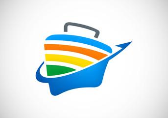 briefcase travel bag icon abstract vector logo