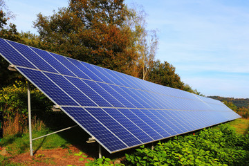 Detail of Solar Power Station on the autumn Meadow