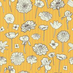Sunny autumn floral pattern