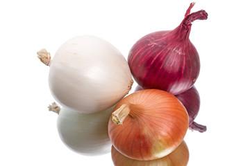 Three different  onions