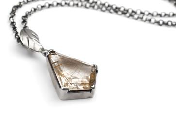 Silver pendant with quartz