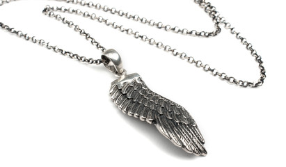 Silver wing pendant