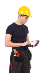 Mechanic using a digital tablet