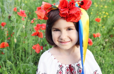 Girl in Wreath with Ribbons of Ukrainian Flag Colors