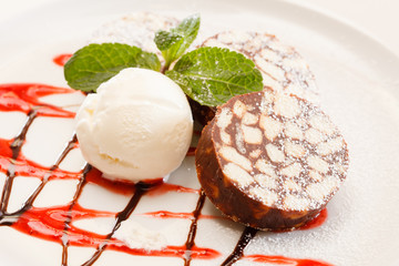 chocolate dessert with ice cream