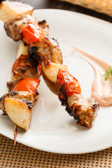 kebab with  pork and pears