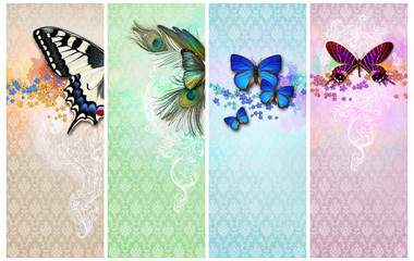 Banner of Vintage shabby chic backgrounds with butterfly