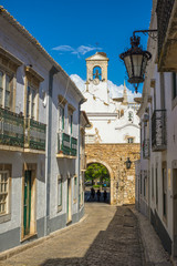 Street view of old downtown Faro - Capital of Algarve - Portugal