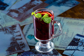 Blackberry tea in a glass cup