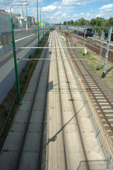 Tram and railway tracks in Poznan, Poland