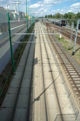 Tram and railway tracks in Poznan, Poland