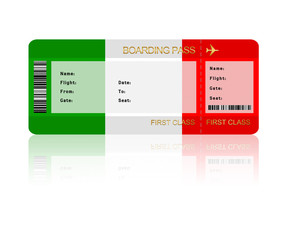 air ticket with Italy flag isolated over white