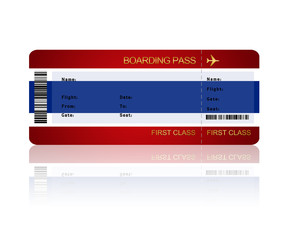 air ticket with Thailand flag isolated over white