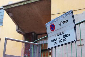 Fish market, Italy, sign