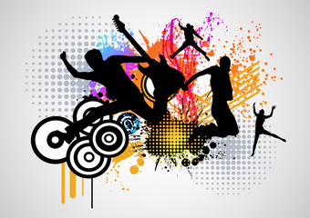 music splash color graphic with dance people vector