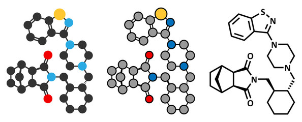 Lurasidone atypical antipsychotic drug molecule.