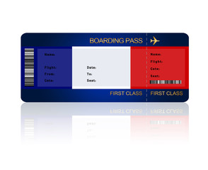 air ticket with France flag isolated over white