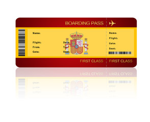 air ticket with Spain flag isolated over white