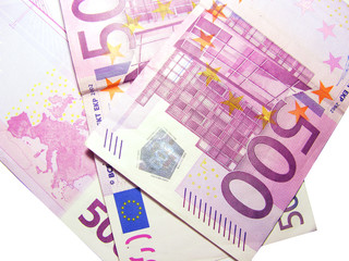 500 euro bills isolated in white