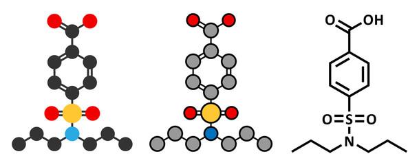 Probenecid gout drug molecule.