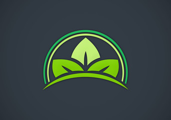 leaf abstract ecology vector logo