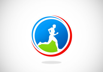 running man sport icon abstract vector logo