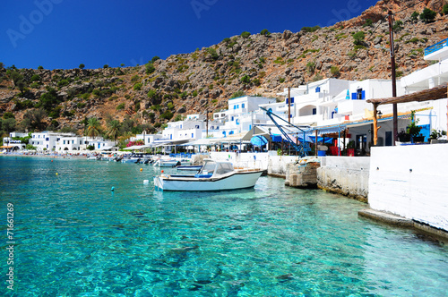 Greek coastline village of Loutro in southern Crete - 71661269