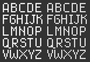 pixel art style uppercase alphabet, white square letters on