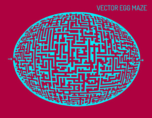 Vector egg illustration maze (labyrinth)
