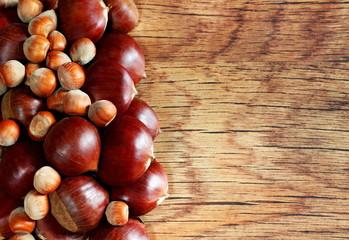 Cornice di castagne e nocciole