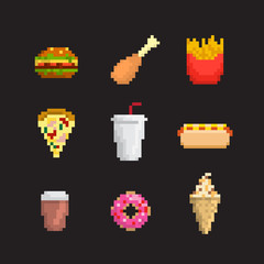 Pixel art fast food icon set