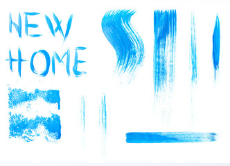 Blue colors roller brush strokes for yours concepts