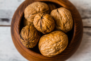 Walnuts in Wooden Plate
