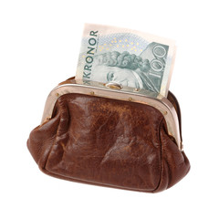 Purse with Swedish banknote