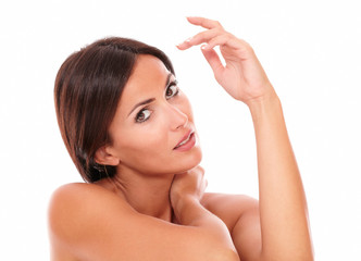 Sensual hispanic woman showing her femininity