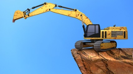 Excavator Hill, blue Background