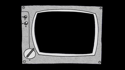 Cartoon old style TV-set  (with mask).