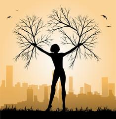 illustrazione di donna albero e città sullo sfondo