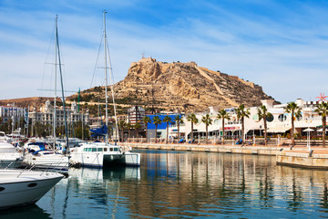 View of Alicante with yachts and restaurants