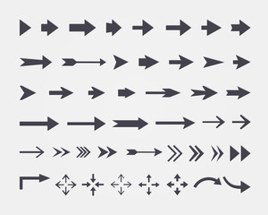 Vector set of different vector arrows isolated on white backgrou