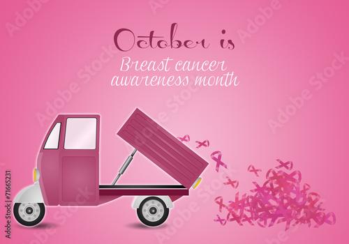 Pink van with pink ribbons
