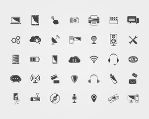 Big Vector black Technology icons