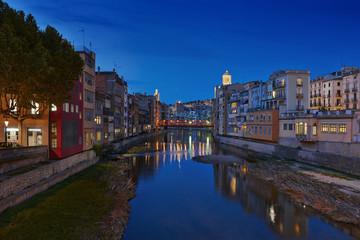 View of Girona at dusk, Catalonia, Spain.