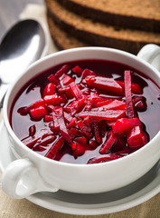 Bowl of red beetroot soup